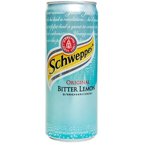 Schweppes, Bitter Lemon, 0,33 л, Швепс, Ориджинал Биттер Лимон, Вода сладкая, с натуральным соком, ж/б