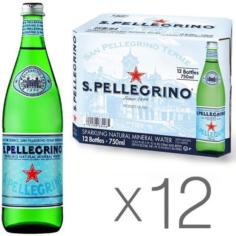 San Pellegrino, 0,75 л, Упаковка 12 шт., Сан Пеллегріно, Вода мінеральна газована, скло
