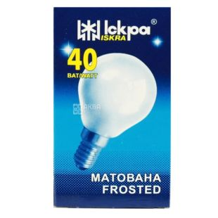 Іскра, 40 Вт, лампа, Матована, м/у