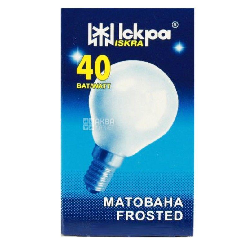 Іскра, 40 Вт, лампа, Матовая, м/у