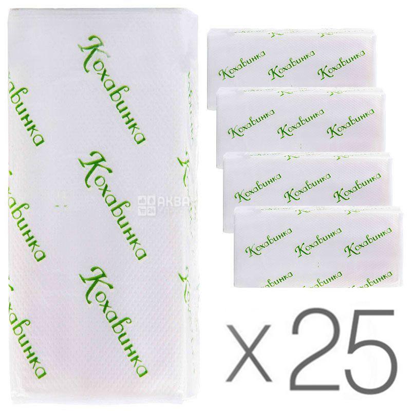Кохавинка, 25 упаковок по 170 аркушів, Паперові рушники, одношарові, Z-складання, сірі, 25х23 см