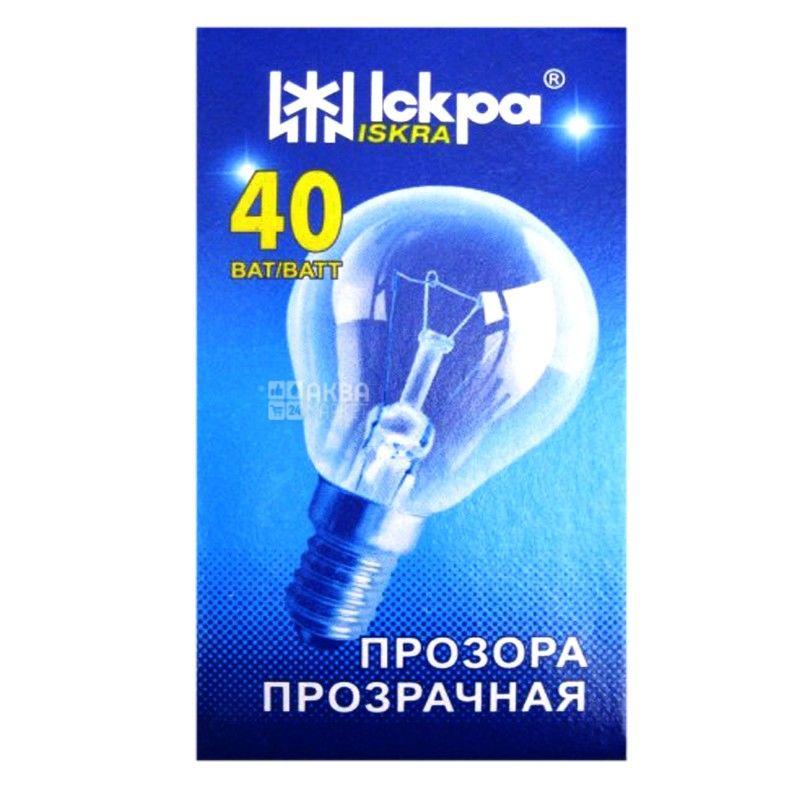 Іскра, 40 Вт, лампа, Прозора, м/у