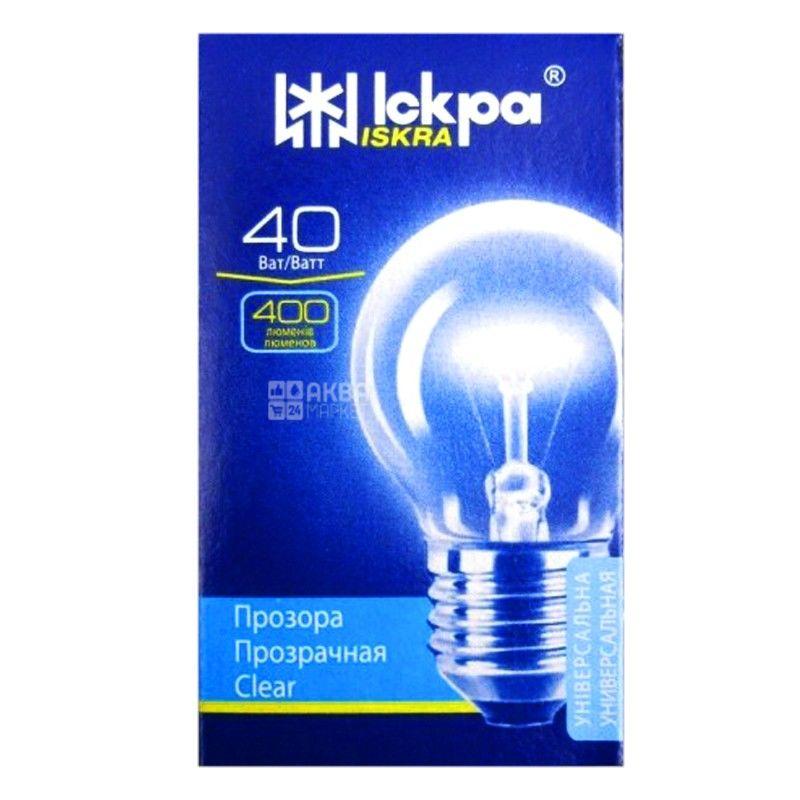 Іскра, 40 Вт, лампа, Прозрачная, м/у