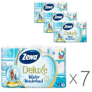 Zewa Deluxe Winter Wonderland, упаковка 7 шт., по 8 рул., Туалетная бумага Зева Делюкс, Зимняя Коллекция, 3-х слойная