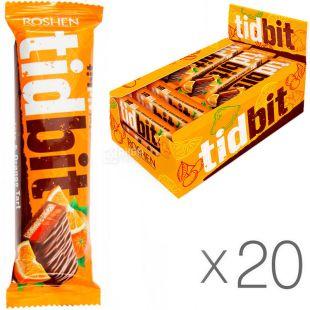 Roshen TidBit, 70 г, Упаковка 20 шт., Рошен, Батончик шоколадный Тид Бит со вкусом апельсинового тарта