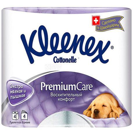Kleenex Premium Comfort, 4 рул., Туалетная бумага Клинекс Премиум Комфорт, 4-х слойная