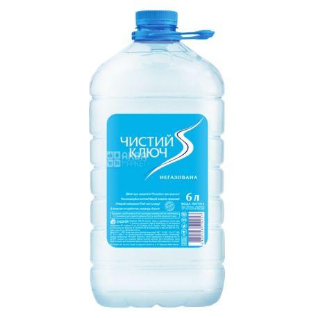 Чистый ключ, 6 л, Вода негазированная, ПЭТ