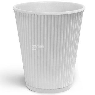 Крафт Стакан бумажный гофрированный, белый, 400 мл, 25 шт., D92