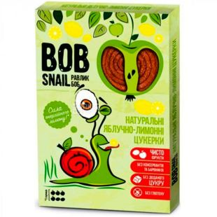 Bob Snail, 60 г, Пастила, натуральная, Яблочно-лимонная, без сахара