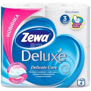 Zewa Deluxe Delicate Care, 4 рул., Туалетная бумага Зева Делюкс, Деликатная Забота, 3-х слойная