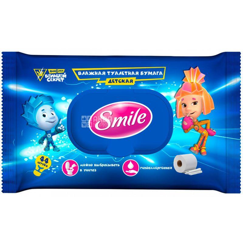 Smile Фиксики, 44 листа, Влажная туалетная бумага Смайл