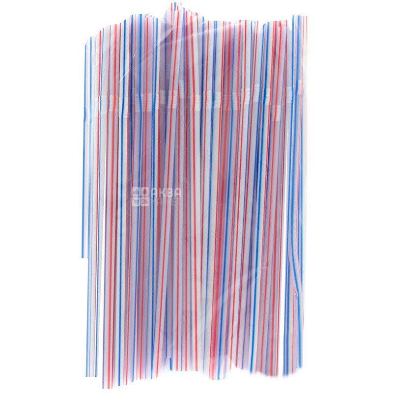 Инпак, Трубочки для напитков в полоску, 21 см, цветные, 100 шт.