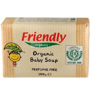 Friendly Organic, 100 г, Мило тверде для рук, без запаху, органічне
