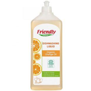 Friendly Organic, 500 мл, Миючий засіб для посуду, апельсинове масло, органічний
