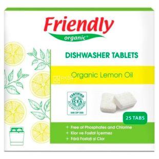 Friendly Organic, 25 шт., Таблетки для ППМ, лимон, органічні