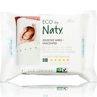 Eco by Naty, 20 pcs., Wet wipes, baby, for travel, organic, odorless
