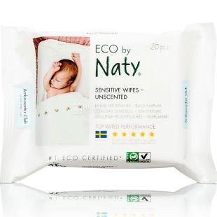 Eco by Naty, 20 шт., Серветки вологі, дитячі, для подорожей, органічні, без аромату
