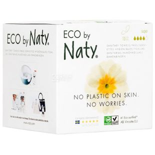 Eco by Naty Large, 13 Pack, Sanitary Pads, Organic, 4 Drops