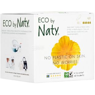 Eco by Naty Ночные, 10 шт., Гигиенические прокладки, органические, 5 капли