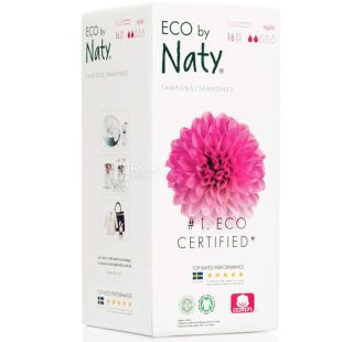 Eco by Naty Regular, 16 pcs., Hygienic tampons with applicator, organic, 2 drops