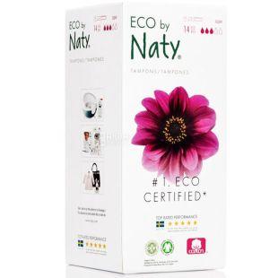 Eco by Naty Super, 14 шт., Гігієнічні тампони з аплікатором, органічні, 3 краплі