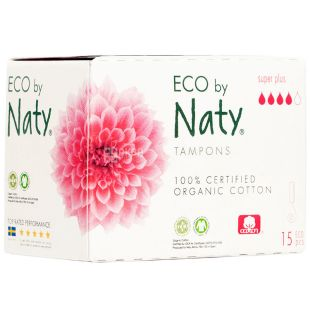Eco by Naty Super Plus, 15 pcs., Hygienic tampons without applicator, Organic, 4 drops
