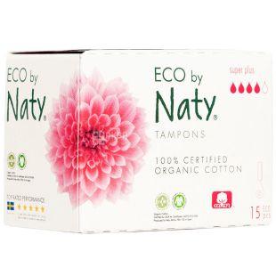Eco by Naty Super Plus, 15 шт., Гигиенические тампоны без аппликатора, органические, 4 капли