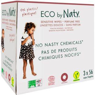 Eco by Naty, 3х56 шт., Серветки вологі, дитячі, органічні, без аромату