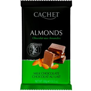 Cachet, 300 г, Шоколад молочный с миндалем