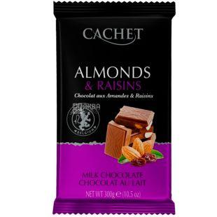 Cachet, 300 г, Шоколад молочный с миндалем и изюмом