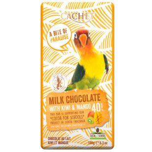 Cachet, 180 г, Шоколад молочный, киви и манго
