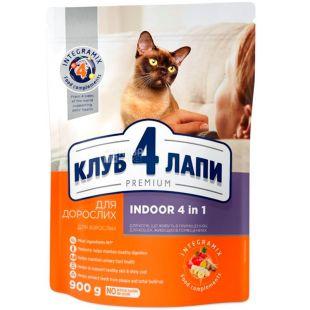 Клуб 4 лапы Премиум, 900 г, Корм полнорационный 4в1 для взрослых кошек