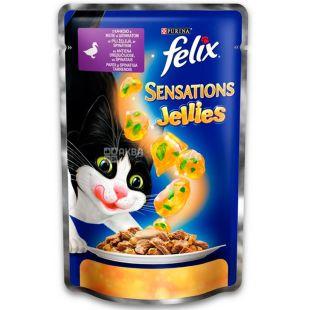 Felix Sensations Jellies, 100 г, Корм  для взрослых котов, с уткой в желе со шпинатом