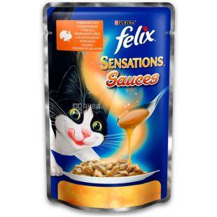 Felix Sensations Sauces, 100 г, Корм для взрослых котов, индейка в соусе с беконом