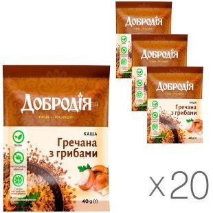 Dobrodiya, 20 packs of 40 g each, Instant porridge, buckwheat with mushrooms