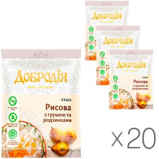 Dobrodiya, 20 packs of 40 g each, Rice porridge with pear and raisins