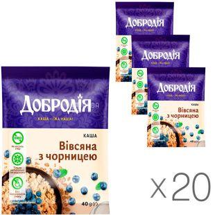 Dobrodiya, 20 packs of 40 g each, Oatmeal porridge with blueberries