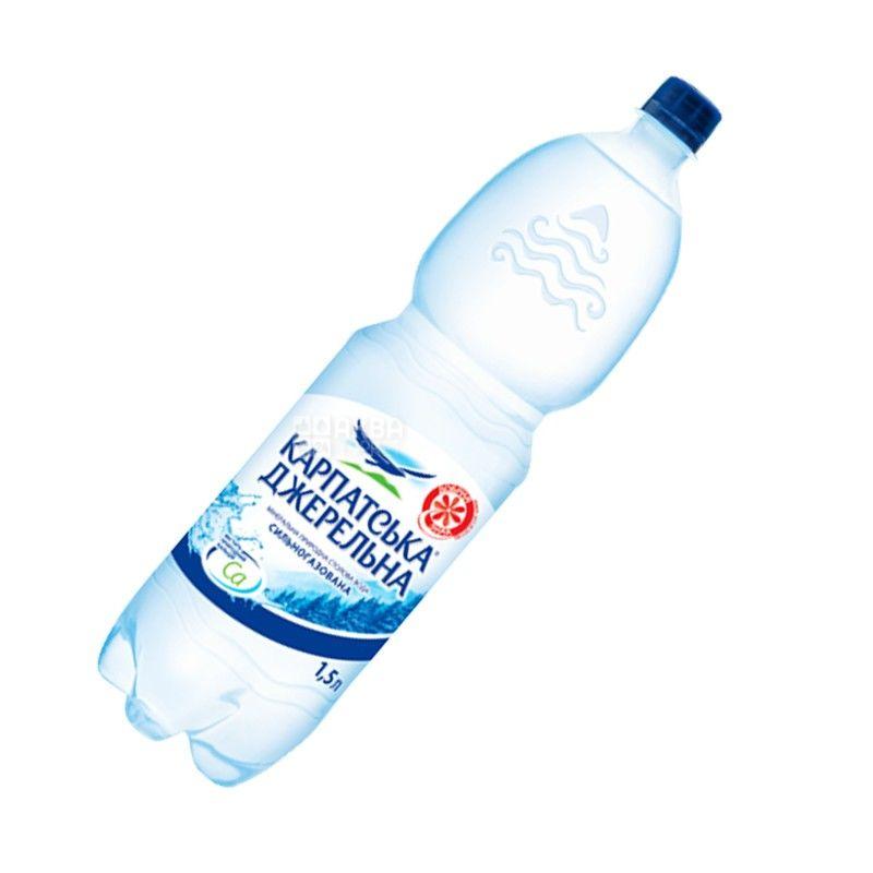 Карпатська Джерельна, 1,5 л, Вода сильногазированная, Минеральная, ПЭТ