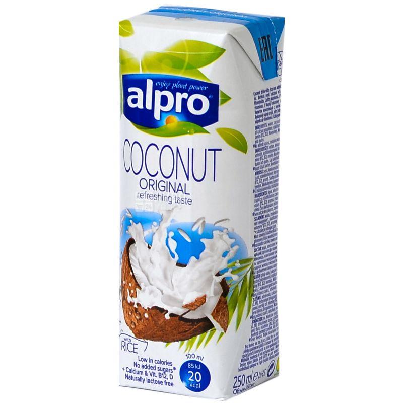 Alpro, Coconut Original, 250 мл, Алпро, Кокосовое молоко, без сахара и лактозы, оригинальное, с витаминами