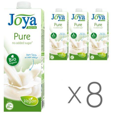 Joya Pure Organic, Упаковка 8 шт. по 1 л, Джоя, Соевое молоко, органическое, без сахара и лактозы