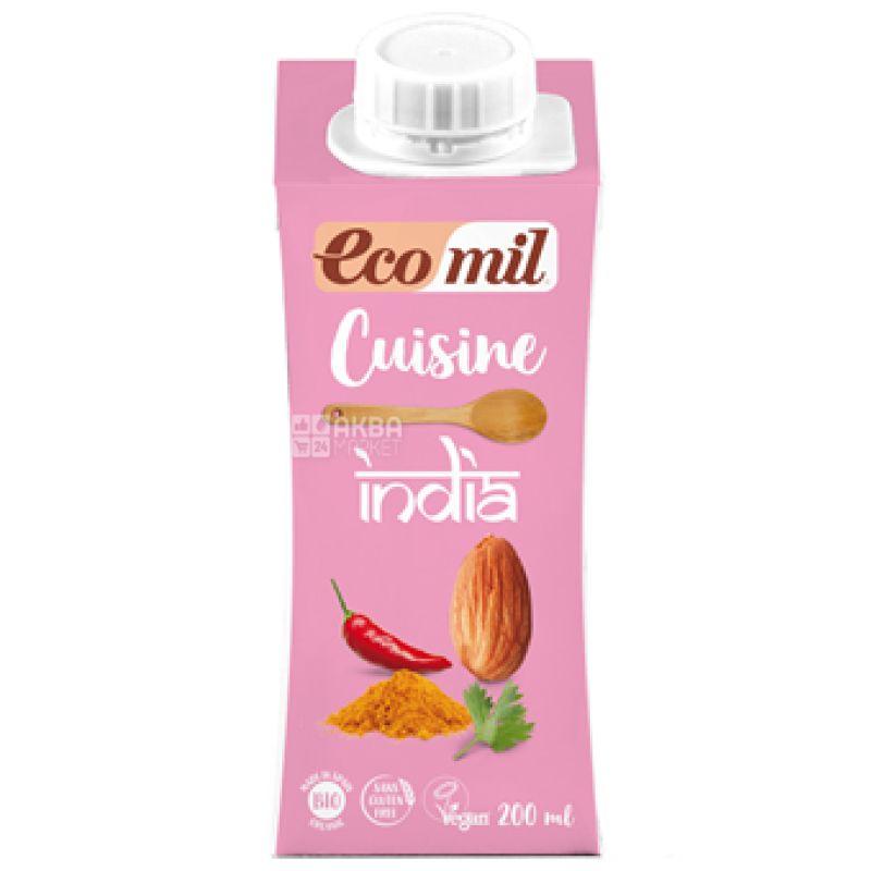 Ecomil, India, 0,2 л, Экомил, Растительные сливки Индийские, с кокосом и специями, без лактозы