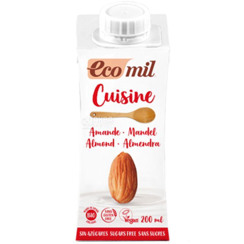 Ecomil, Mandel Almond, 0,2 л, Экомил, Растительные сливки Миндаль, без сахара