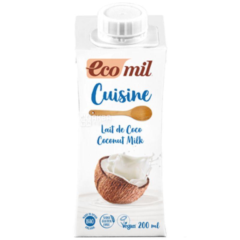 Ecomil, Cuisine Coconut, 200 мл, Экомил, Растительные сливки, с кокосового молока
