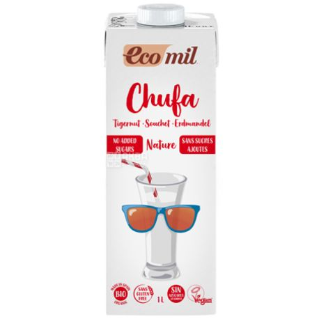Ecomil, Chufa, 1 л, Экомил, Растительный напиток из тигрового ореха, без сахара