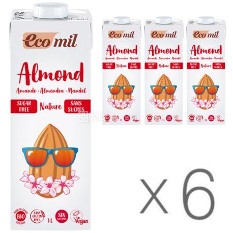 Ecomil, Almond milk, 1 л, Экомил, Растительный напиток, Миндаль без сахара, Упаковка 6 шт.