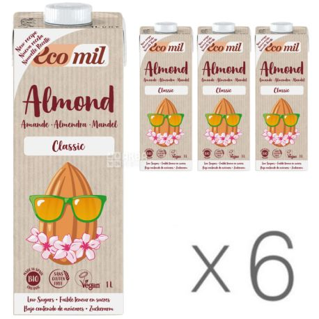 Ecomil, Almond Classic, 1л, Экомил, Растительный напиток, Миндаль без глютена, Упаковка 6 шт.