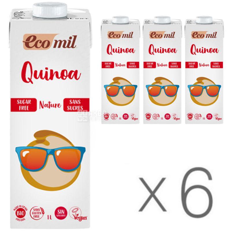Ecomil, Quinoa, 1 л, Екоміл, Рослинний напій з кіноа і сиропом агави, без цукру, Упаковка 6 шт.