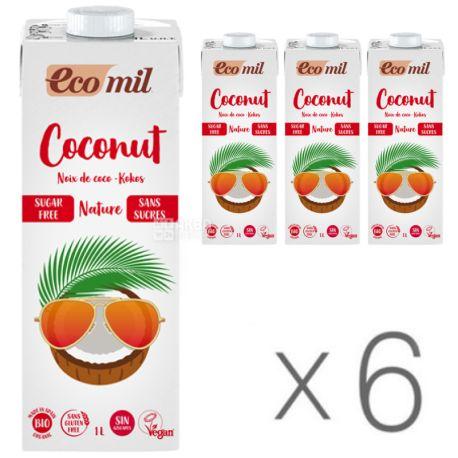 Ecomil, Coconut milk, 1 л, Экомил, Растительный напиток, Кокос без сахара, Упаковка 6 шт.