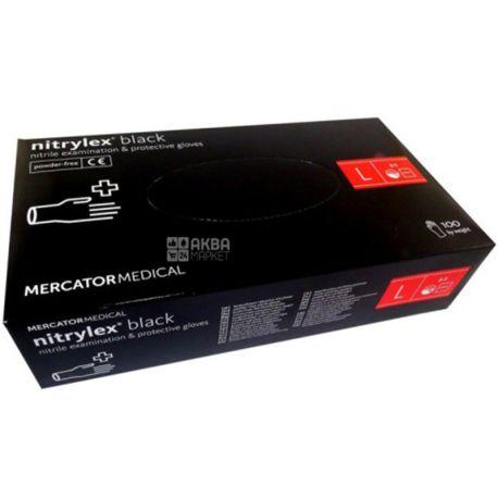 Mercator Medical, 100 шт., Перчатки нитриловые, нестерильные, без пудры, черные, размер L