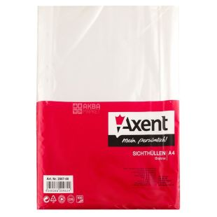 Axent, A4 + transparent files, 30 microns gloss, 100 pieces